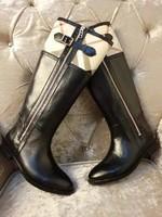 2014 Winter B Brand Designer Women Flat Heel Tall Boots,Genuine Leather Fashion Plaid Knee-High Boots 34-40 Size