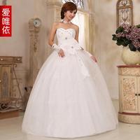 2014 clothing sleeveless beige Strapless lace wedding dress long sections vestido de novia vestido de noiva 027