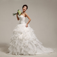 Luxury 2014 train wedding dress tube top princess bride rhinestone lace organza strap