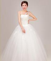 Winter wedding dress bridal formal dress 2014 oblique plus size maternity mm one shoulder vestido de novia vestido de noiva