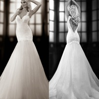 Glamorous White Tulle Mermaid Wedding Dress Sexy V-Neck Open Back Lace Strap Bridal Gown 2015 Vestido de Noiva