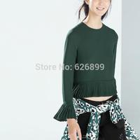 2014 Women's Elegant Chiffon Blouse Pure Color Short Style Femininas Blusa Long Sleeve Pleated Patchwork Shirt BE 36(EB)