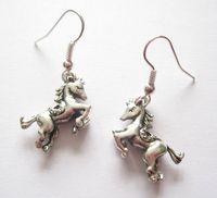 24pair 3D CUTE REARING HORSE Tibetan silver Drop Earrings PONY FAIRGROUND 40mm GH0100