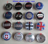 MIX 400pcs 60mm alloy skoda R GTI saab BBS england flag HRE opel mini works monster wheel center caps hub cover badge car emblem