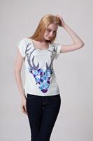Drop Ship Women Roupas Femininas Woman t-shirts 2014 Summer Fashion Design Patch Elk Plus Size Casual Print T shirt Loose Top