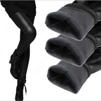 2014 Fashion Autumn Winter Sexy Plus Velvet Thick Leather Pants Boots Cut Trousers Warm Women's PU Leather Elastic Slim Pants