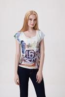 Drop Ship Women Roupas Femininas Woman t-shirts 2014 Summer Fashion Car & Train Plus Size Casual Printed T shirt Loose Top