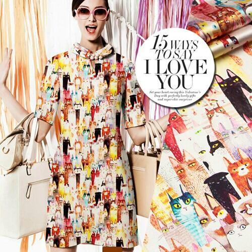 118cm wide 19mm 93% silk & 7% spandex cartoon cats print silk satin fabric for dress shirt clothes(China (Mainland))