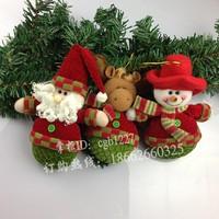 2pcs/lot christmas decoration quality flannelet fabric exquisite snowman/Milu deer plush doll hanger free shipping