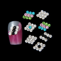 HOT !! 50 PCS/LOT color stone Geometry design 3D  DIY nail accessories wholeslae alloy material color mixed top quality