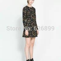 2014 Hot Sale Ladies' Cute Dress Floral Print Femininas Tunic Long Sleeve O-Neck Vestido Sweat Dress  BE 37(EB)