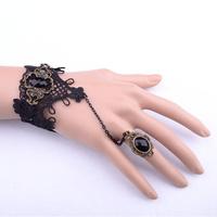 Black brazaletes pulseras wrist band jewelry brazalete bracelet with hand ring bracelet metal bracelet ring FREE SHIPPING