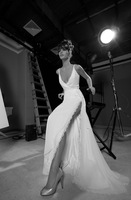 Pretty A-Line V Neck High Slit Chiffon Court Train Backless Vintage Wedding Dress 2015