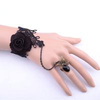 Black brazaletes pulseras flower wrist band jewelry brazalete fantasias femininas bracelet with ring FREE SHIPPING
