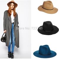 6pcs/LOT New Fashion Autumn Winter 100% Wool Women's Fedora hats Floppy Trilby felted hat Ladies Panama Cap Adjusted Wholesale