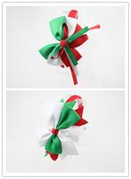 Baby Girl Christmas Hair Bow Hairband For Kids Hair Accessories Cute Princess headwear Elastic Ribbon hair bow 10 pcs/ lot