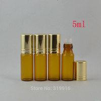 5ml(24pc/lot) amber glass roll on bottle  with aluminum cap,5ml glass vial ,5ml perfume glass bottles,oil glass bottles
