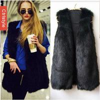 Wholesale/Retail Ctrlstyle Top Quality Faux Fur Vest Women Long Waistcoat 2014 Ladies Clothes Big Size+Free Shipping Dropship