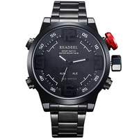 2014 Fashion Men's Sports Watches Black Full Stainless Steel Men Watch Fashion & Casual Dual Time Analog-Digital LED Watches Men