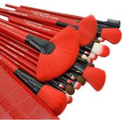 New Red Synthetic Hair 24 Pcs Makeup Brushes Professional Foundation Blush Eyeshadows Make up Brush Set & Case Free Shipping