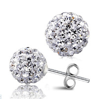 925 Sterling Silver Full Crystal Ball Shambhala Ear Studs Earrings Fashion Jewelry Gifr for Women ED03-8mm