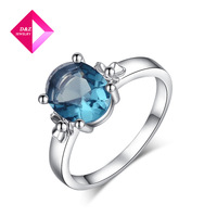 D&Z BLue  Gold Jewelry genuine Austrian crystal jewelry wholesale gold plated Square Ring,ring series
