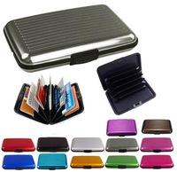 Waterproof Business ID Credit Card Wallet Holder Aluminum Metal Pocket Case Red