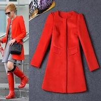 Free Shipping Winter 2014Charming Red Slim Wool Coat  140916HU01