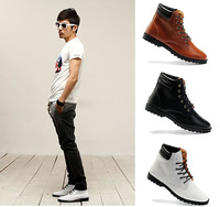 [Crazy Sale] men's leather boots brand height increase men leather fashion boots shoes ankle boots shoes for men 2014