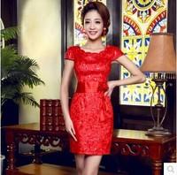 Red Short Wedding Dress 2014 Simply Fashion Slim Formal Dress Wedding Dresses Custom Made