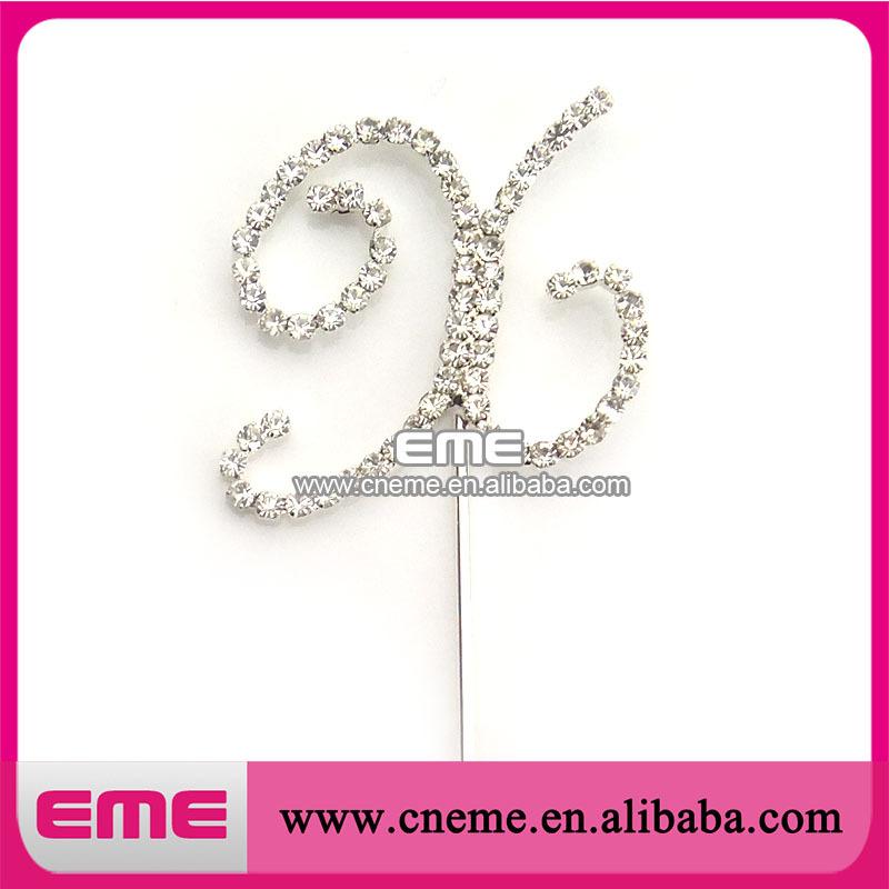 35mm Free Shipping fashion pretty hot sell shinning letter x crystal rhinestone cake topper(China (Mainland))