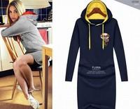 Women Long Sleeve Hoodie Dress New 2015 Fashion Autumn Winter Casual Sweatshirts Sports Suit plus size M L XL XXXXL