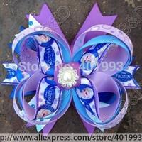 New arrival 20pcs/lot 5.5'' FROZEN hair bow clips,Frozen hair accessories,Princess hair bow clips 6081