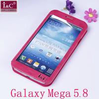 Original I&C Full Touch Screen Window Leather Flip Case For Samsung Galaxy Mega 5.8 I9150 i9152 i9158 P709 Free Shipping
