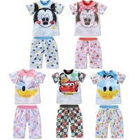 2014 summer cartoon baby clothing set/mickey minnie donald baby suit/Adorable children clothing set