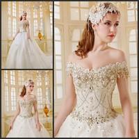 new princess wedding dress 2014 Korean Bra straps trailing wedding bride vestido de novia vestido de noiva a032