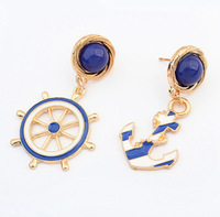 Good quality NEW 2014 Fashion Jewelry Rhinestone Anchors Stud Earring For Women statement earrings Christmas Gift G37