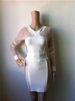 Free Shipping 2014 Women's Noble Sexy Rivet Mesh White & PInk Long Sleeve Bandage Dress HL Fashion Cocktail Party Prom Dresses
