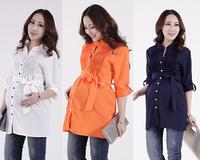 NWT Fashion Womens OL Chiffon blouses Pregnant tunic top pleated Blouses S/M/L