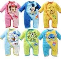 New 2014 baby cartoon Minnie Mickey long-sleeved romper/Unisex infant baby clothing