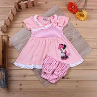 2014 cute cartoon girls clothing set/Polka dots Minnie dress with bowknot+striped underwear/New kids clothing set