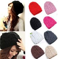 Fashion Lady Women Knit Crochet Hat Winter Warm Braided Baggy Beret Beanie Cap