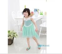 2014 beautiful summer girls princess dress/Cartoon Frozen costume/Sleeveless lace bling bling girl dress