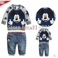 Retail 2014 new arrive baby boys autumn cartoon suits sweatshirt +trousers kids casual hoodies set children clothing sets