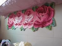 Free shipping handmade 4 rose art rug for bedroom/bedside art carpet romantic rose 165*60cm