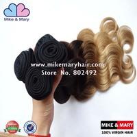 Alibaba Express 5 pcs Lot  Body Weave Unprocessed Peruvian Virgin Ombre Hair Extensions1B/4/27# Human Virgin Hair Extension