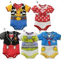 Newborn Baby Boys Girls Cartoon Mickey romper/Short sleeves bodysuit/Lovely baby jumpsuit