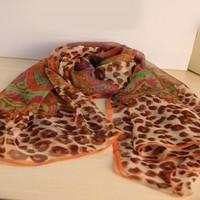 Leopard Chiffon Scarf  Emulation Silk Shawl Long Scavers 147