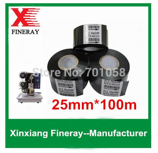 100 rolls/carton Hot coding ribbon to print batch date on flexible packag FC3 25mm*100m heat transfer film(China (Mainland))
