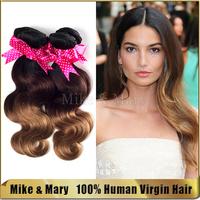 Body Weave Unprocessed Peruvian Virgin Ombre Hair Extensions 4 pcs/Lot 1B/4/27# Human Virgin Hair Extension
